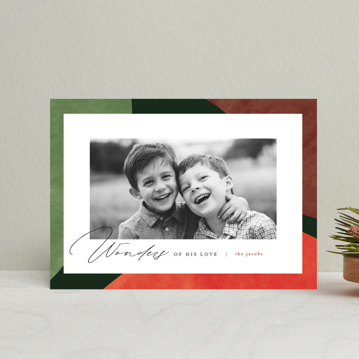 """Colorful Wonders"" - Modern Holiday Petite Cards in Wreath by Pixel and Hank."