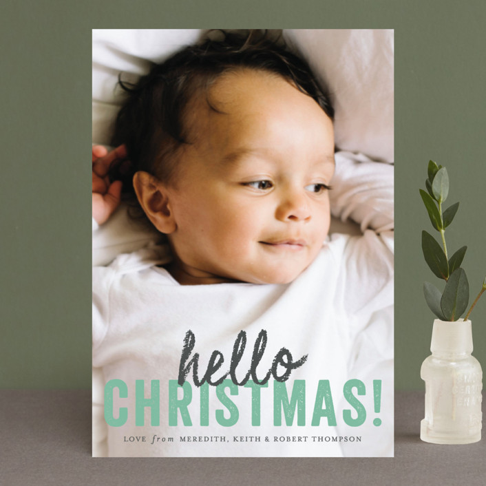 """hello Christmas"" - Holiday Petite Cards in Mint by Sara Hicks Malone."