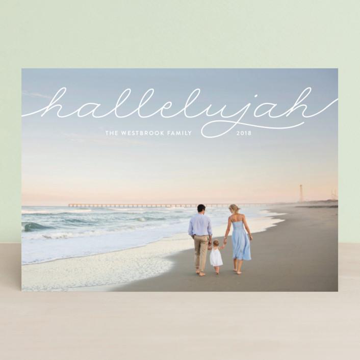 """""""hallelujah in script"""" - Holiday Petite Cards in Cloud by Erin Deegan."""