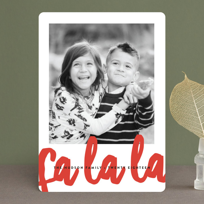 """""""Fa La La"""" - Modern Holiday Petite Cards in Pointsettia by Erica Krystek."""
