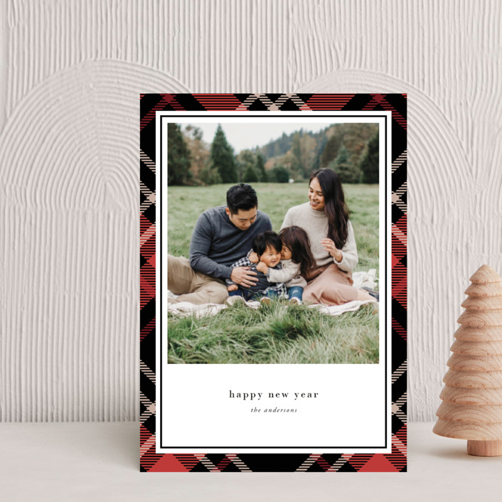 """""""Joyful Plaid"""" - Vintage Holiday Petite Cards in Scarlet by That Girl Press."""