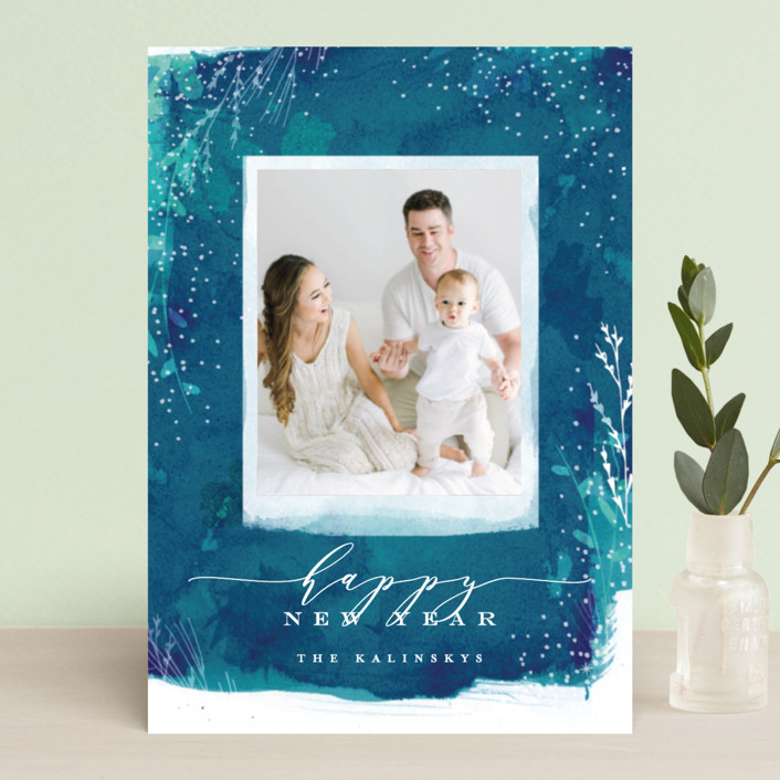 """Snowprint"" - Bohemian Holiday Petite Cards in Ocean by Lori Wemple."