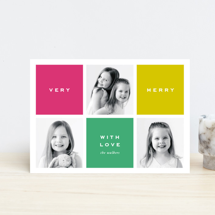 """Preppy Blocks"" - Holiday Petite Cards in Jade by Oscar & Emma."