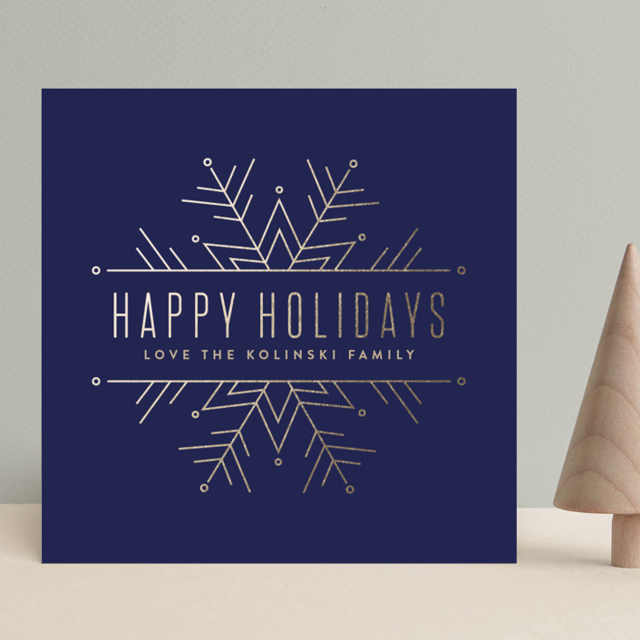 """""""Chic Snowflake"""" - Holiday Cards in Navy by Pistols."""