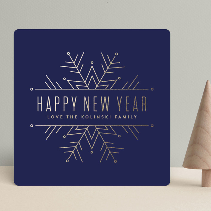 """Chic Snowflake"" - Holiday Cards in Navy by Pistols."