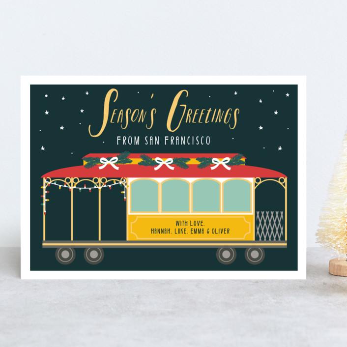 """""""San Fran Tram"""" - Holiday Cards in Fir by Hudson Meet Rose."""