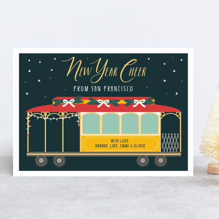 """""""San Fran Tram"""" - Holiday Cards in Fir by Caitlin Considine."""