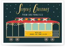 This is a green non photo holiday card by Hudson Meet Rose called San Fran Tram with standard printing on signature in standard.