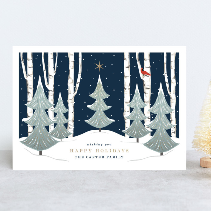 """""""Peace And Prosperity"""" - Holiday Cards in Evening Navy by Susan Moyal."""