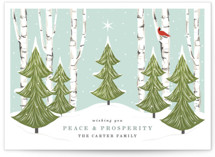 This is a green non photo holiday card by Susan Moyal called Peace And Prosperity with standard printing on signature in standard.
