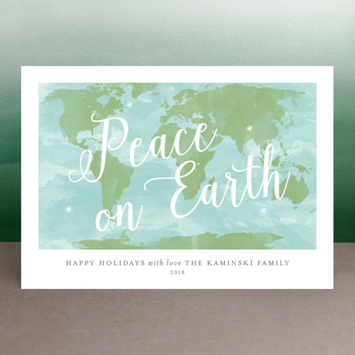 """Worldwide Peace"" - Holiday Cards in Celestial by Sarah Brown."