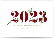 This is a red non photo holiday card by Jennifer Postorino called Adorned Year with standard printing on signature in standard.