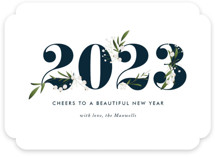 This is a blue non photo holiday card by Jennifer Postorino called Adorned Year with standard printing on signature in standard.
