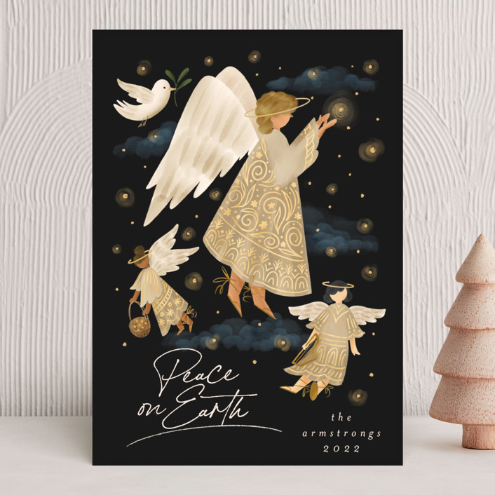 """""""Holiday Wishes"""" - Bohemian Holiday Cards in Cinnamon by Grae."""