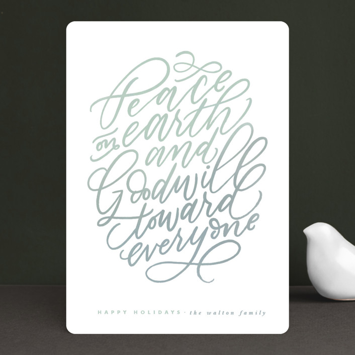 """""""Peace And Goodwill"""" - Holiday Cards in Mint by Leah Bisch."""