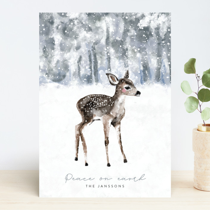 """winter baby deer"" - Holiday Cards in Icy by Cass Loh."