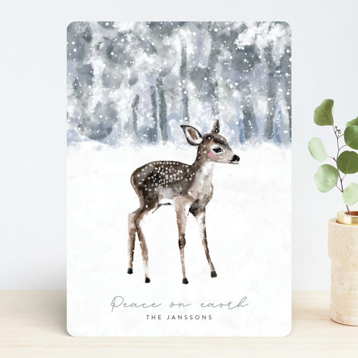 """""""winter baby deer"""" - Holiday Cards in Icy by Cass Loh."""