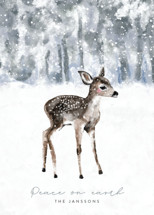 winter baby deer Holiday Non-Photo Cards By Cass Loh