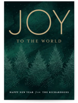 This is a green non photo holiday card by Gina Grittner called Joyful Pointed Pines with standard printing on signature in standard.