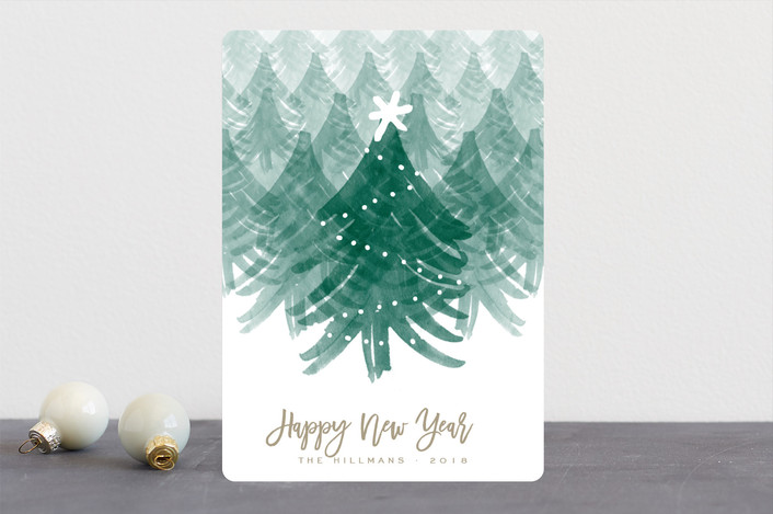 """Christmas Forest"" - Holiday Cards in Wheat by Leah Bisch."