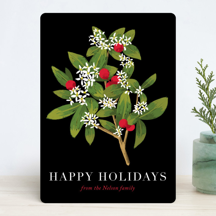 """""""Holiday foliage and flowers"""" - Holiday Cards in Tuxedo by Alexandra Dzh."""