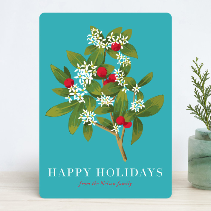 """""""Holiday foliage and flowers"""" - Holiday Cards in Aqua by Alexandra Dzh."""