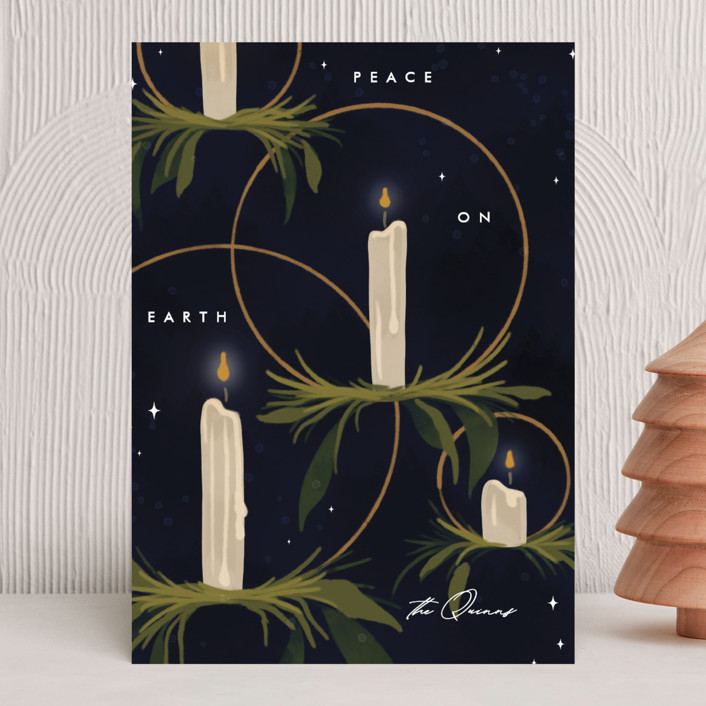 """""""Candlelight"""" - Holiday Cards in Navy by Erin L. Wilson."""