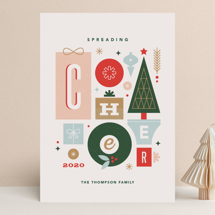 """""""Mod Cheer"""" - Vintage Holiday Cards in Blush by Kristen Smith."""