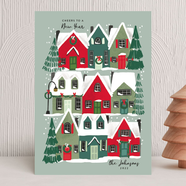 """""""Holiday Home"""" - Holiday Cards in Juniper by Rebecca Durflinger."""