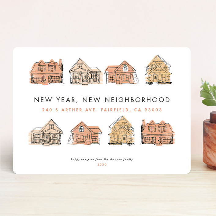 """New Year New Neighborhood"" - Holiday Cards in Pinkpeach by Shiny Penny Studio."