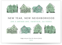 This is a green non photo holiday card by Shiny Penny Studio called New Year New Neighborhood with standard printing on signature in standard.