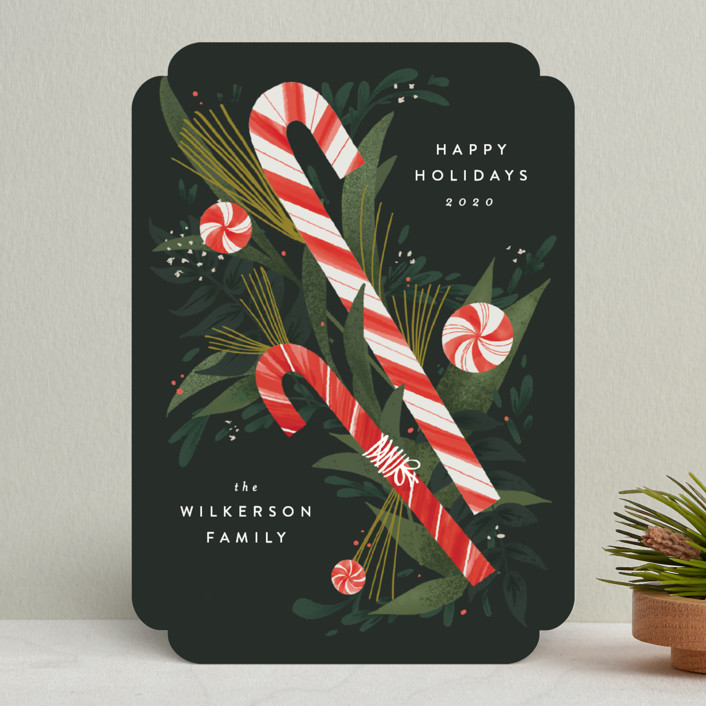 """Peppermint Bouquet"" - Holiday Cards in Evergreen by Heather Francisco."