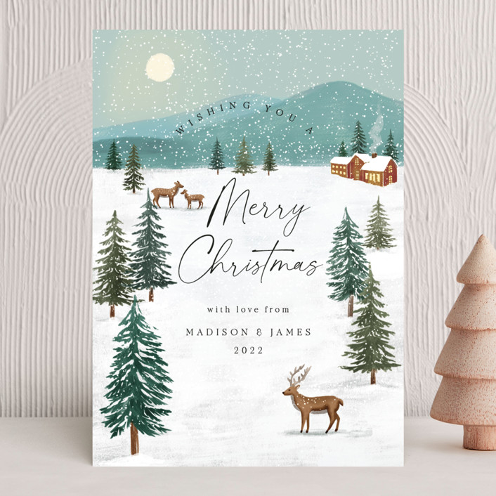 """""""Snowfall"""" - Vintage Holiday Cards in Pine by Elly."""