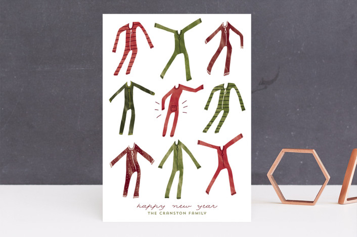 """""""Holiday Onesies"""" - Funny Holiday Cards in Cranberry by Jackie Crawford."""