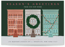 This is a green non photo holiday card by Jennifer Lew called My City with standard printing on signature in standard.