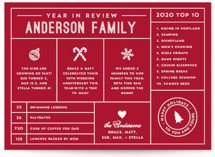 This is a red non photo holiday card by Becca Thongkham called Icons Year in Review with standard printing on signature in standard.