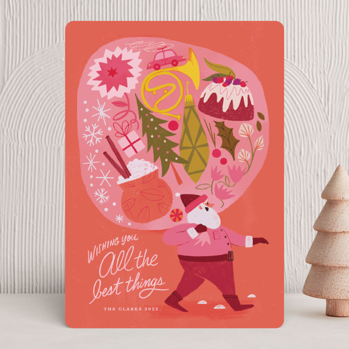 """""""The Best Things"""" - Bohemian Holiday Cards in Mulberry by Morgan Ramberg."""