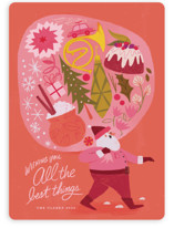 This is a pink non photo holiday card by Morgan Ramberg called The Best Things with standard printing on signature in standard.