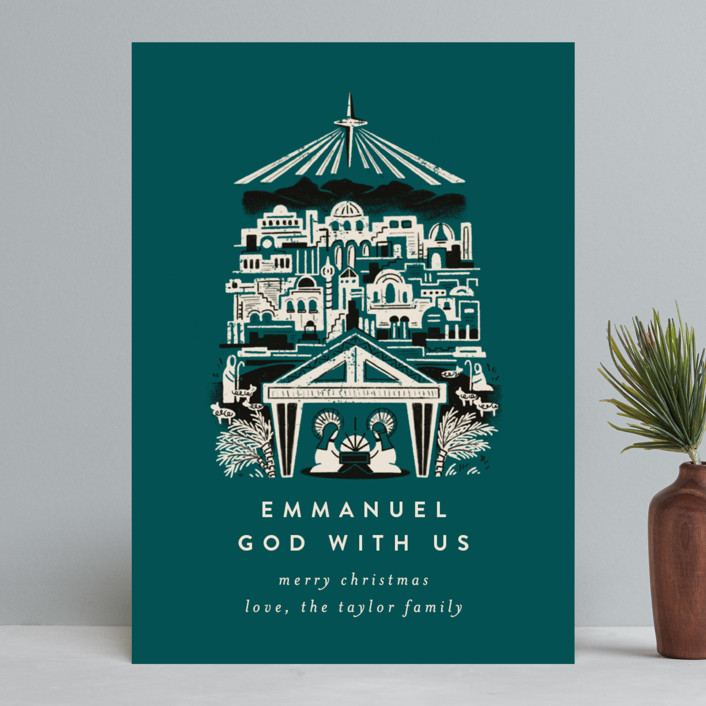 """Mod Bethlehem Manger"" - Holiday Cards in Teal by Shiny Penny Studio."