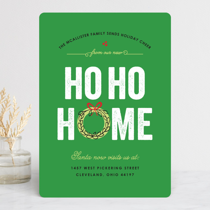"""Ho Ho Home"" - Holiday Cards in Wreath by Bonjour Berry."