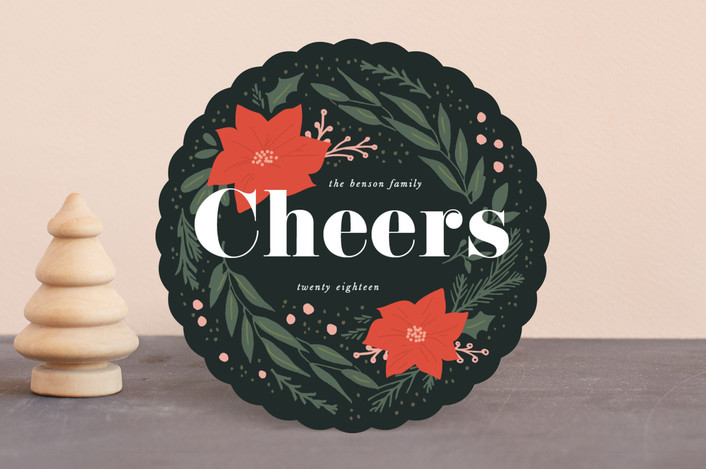 """Botanical Joy"" - Holiday Cards in Woodsy by Sweta Modi."