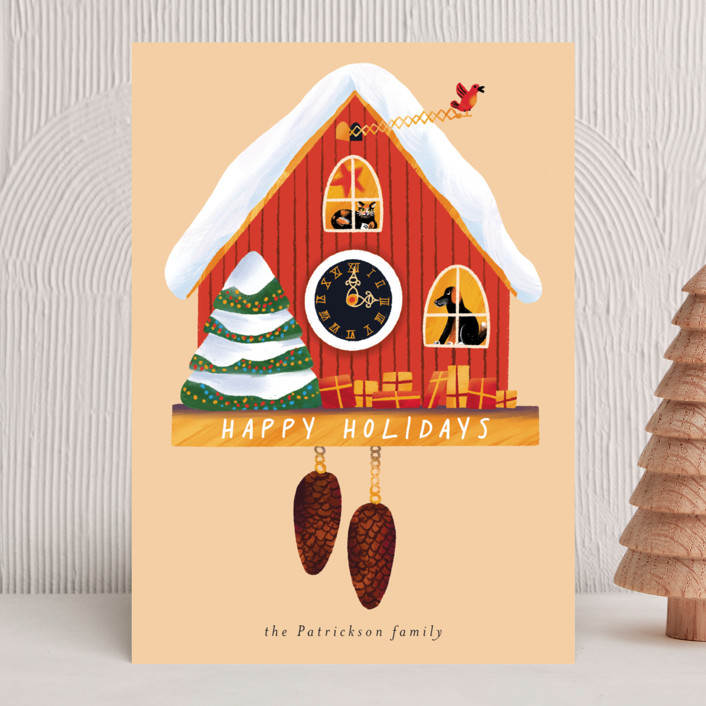 """""""Holiday cuckoo clock"""" - Vintage Holiday Cards in Cream by Alexandra Dzh."""