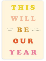 This is a pink non photo holiday card by Yours Madly called Years Truly with standard printing on signature in standard.