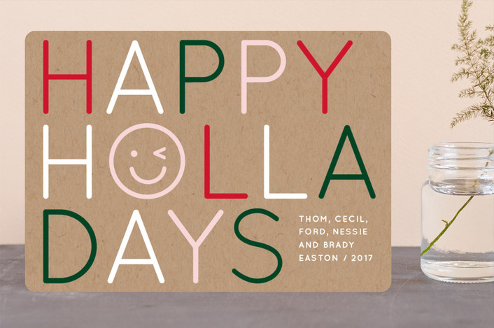 """Emoji Shine"" - Funny Holiday Cards in Kraft by Baumbirdy."
