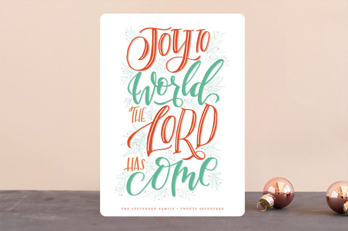 """Lettered Joy"" - Holiday Cards in Holly by Grace Kreinbrink."