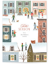 This is a white non photo holiday card by Jennifer Wick called Snow in the city with standard printing on signature in standard.