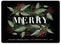 This is a red non photo holiday card by Ana Sharpe called Snowy Foliage with standard printing on signature in standard.