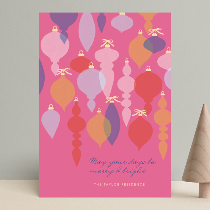"""""""Adornment"""" - Modern Holiday Cards in Fuschia by Marabou Design."""