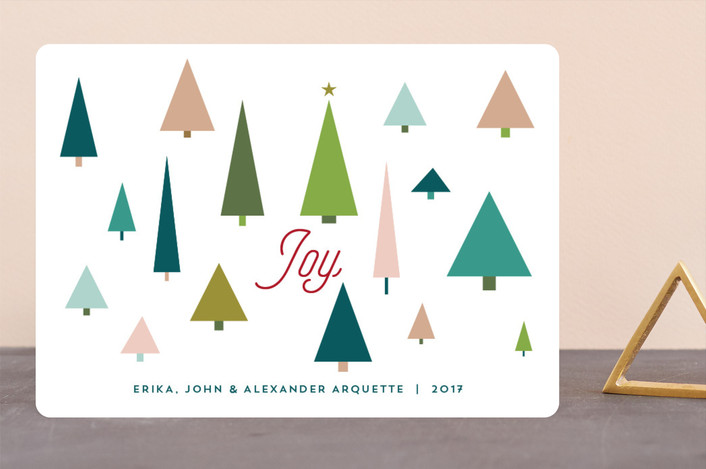 """Joy Tree Forest"" - Modern Holiday Cards in Holly by Erika Firm."