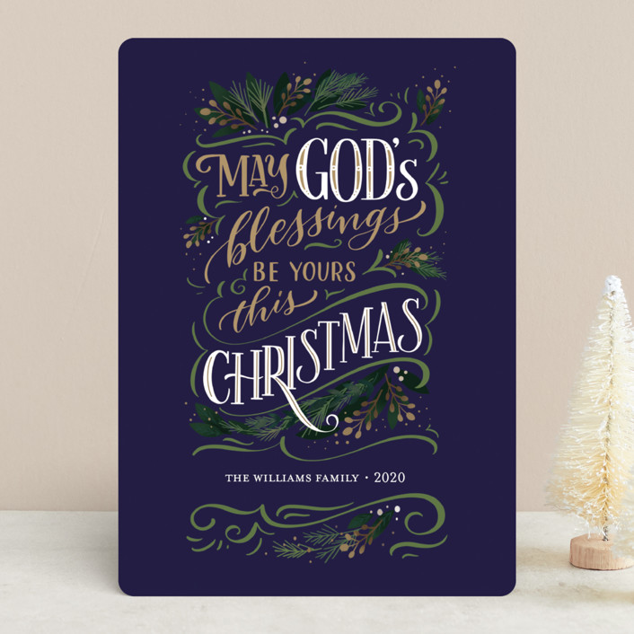 """God's Blessings"" - Vintage Holiday Cards in Onyx by Laura Bolter Design."